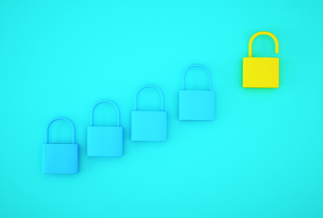 Blue background with four closed blue locks and one open yellow lock